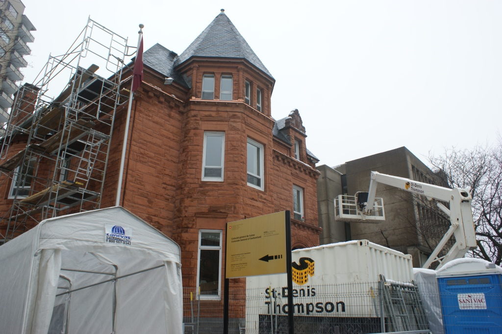 Le consulat général de suisse à Montréal est en pleine rénovation.