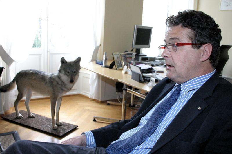 Le conseiller d'État Jean-René Fournier et le loup tué illégalement, empaillé sur son bureau
