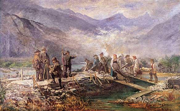 travaux de correction du Rhône
