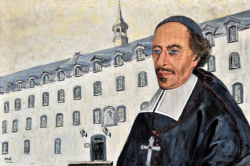 Mgr François de Laval devant le Séminaire de Québec