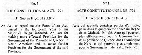 Début de l'Acte constitutionnel de Québec