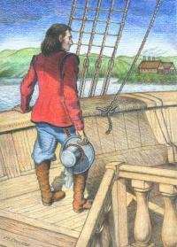 Charles de Biencourt, dessin de Michèle Collard, © Editions la Vague verte.