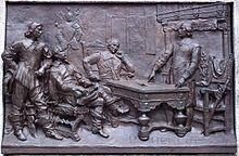 Bas-relief de la signature de l'acte de fondation de Ville-Marie, au monument à Maisonneuve de Montréal