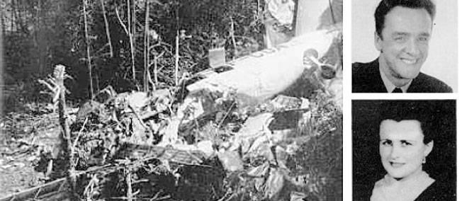 Albert Guay, sa femme et les restes de l'avion