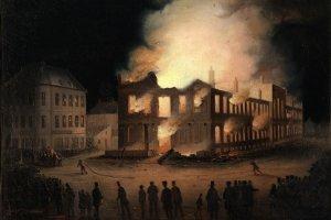 L'incendie du Parlement à Montréal, Joseph Légaré, 1849