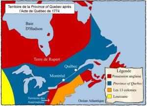 Carte du territoire après l'Acte de Québec