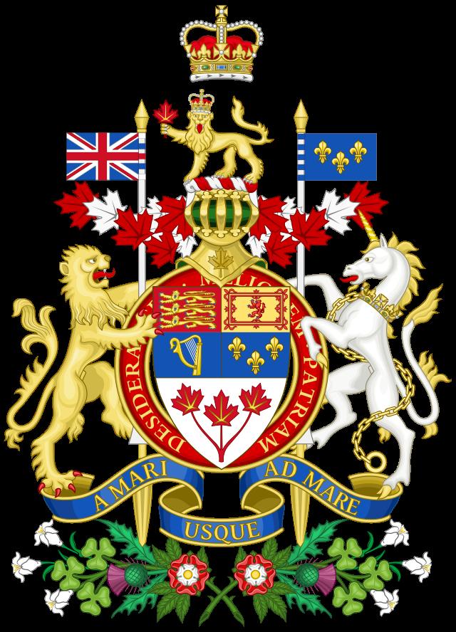 Armoiries du Canada avec la devise A MARI USQUE AD MARE.