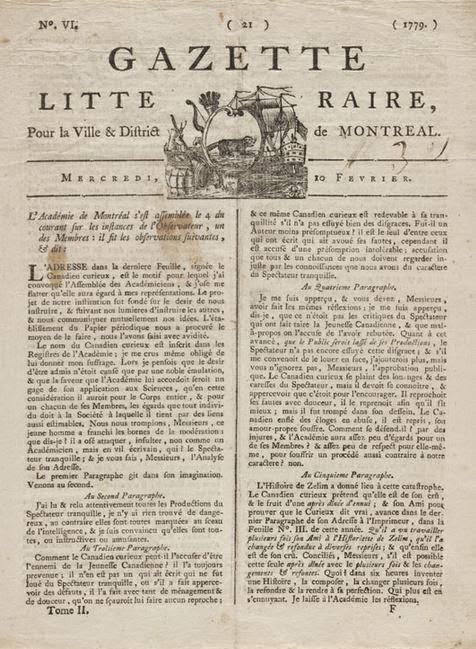 Un numéro de 1779 de La Gazette