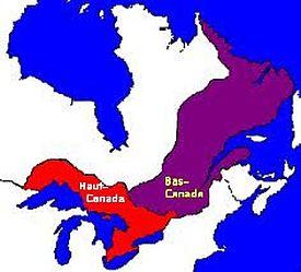 Le Haut et le Bas-Canada en 1791 après l'Acte constitutionnel