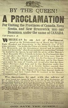 Proclamation de la Confédération canadienne