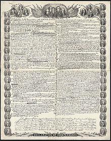 Fac-similé de la Déclaration d'indépendance américaine avec les portraits des signataires