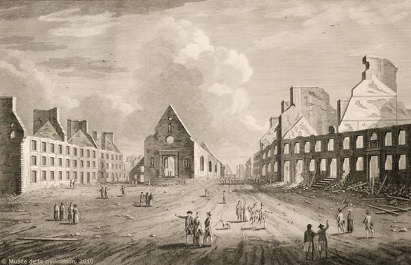 Les restes de la Place royale, gravure de Richard Short