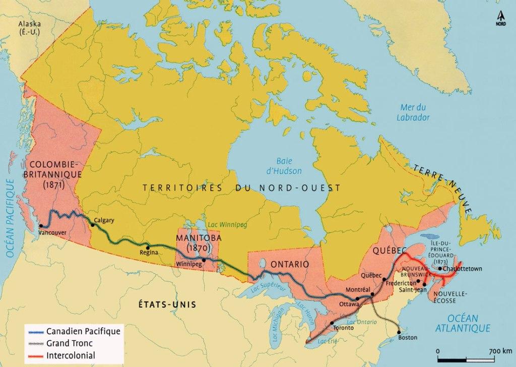 Carte du Canada à la fin du XIXe siècle