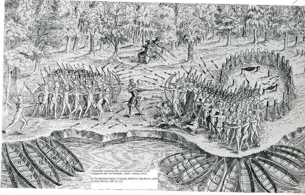 Champlain fait feu sur les Iroquois