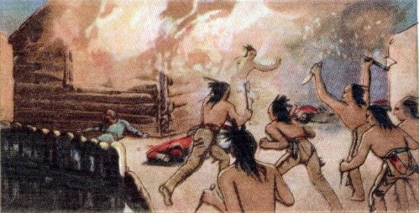 Estampe: Massacre et incendie à Lachine