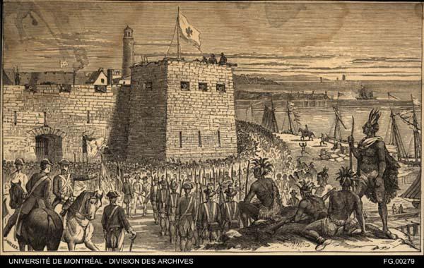 Gravure de la prise du fort d'Oswego le 14 août 1756